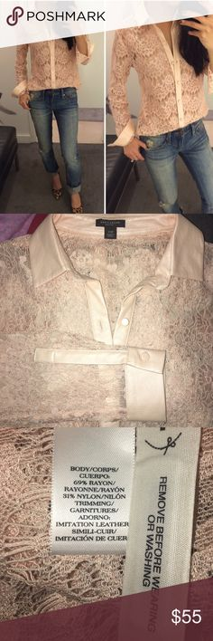 ✨ANN TAYLOR PETITE LACE TOP✨ GORGEOUS ANN TAYLOR LACE WINTER LONG SLEEVE IN GREAT CONDITION USE ONCE ⭐️ Ann Taylor Tops Button Down Shirts