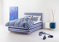 the art of mattress making: hästens on how they craft the perfect queen fit for a king Blue Check, Interior Design Inspiration, Design Ideas, Rustic Decor, Kitchen Decor, Kitchen Ideas, Comforters, Master Bedroom, Classic