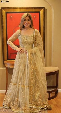 Cream beige golden anarkali