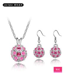 Find More Jewelry Sets Information about free shipping _ Spherical Austria Crystal Earrings Necklace Set   Jiao didi xj 1036 24 75 (violet),High Quality earrings boy,China earrings pink Suppliers, Cheap earrings cube from Miyukiz Factory (No Min Order) on Aliexpress.com