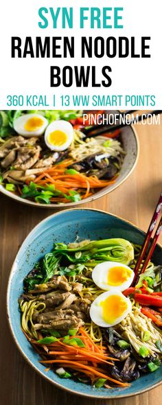 Ramen Noodle Bowls - Pinch Of Nom Slimming Recipes Ramen Noodle Bowl, Ramen Noodles, Sesame Noodles, Slimming World Recipes Syn Free, Slimming World Meal Prep, Slimming World Lunch Ideas, Slimming Word, Syn Free Food, Low Carb Recipes