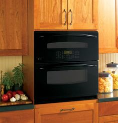 With a GE Profile oven you can save time and energy cleaning without scrubbing. The self-clean feature cleans the inside of the oven on its own.