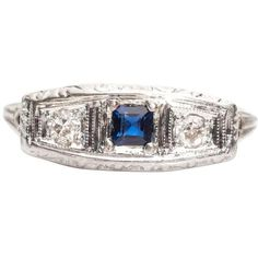 Preowned 1930s Horizontal Sapphire Old Mine Diamond Filigree Ring ($1,000) ❤ liked on Polyvore featuring jewelry, rings, blue, engagement rings, 3 stone engagement rings, 14k diamond ring, blue diamond rings, diamond rings and blue sapphire ring