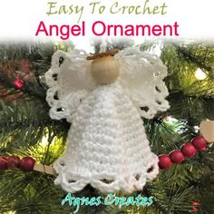 Crochet Christmas Ornaments, Christmas Crochet Patterns, Holiday Crochet, Crochet Snowflakes, Angel Ornaments, Crochet Gifts, Crochet Dolls, Beginner Crochet Tutorial, Crochet For Beginners