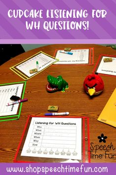 Cupcake Listening for WH questions: a fun card game to practice note taking and compensatory strategies for building auditory comprehension in speech and language therapy