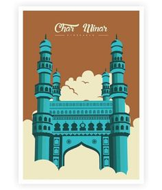 Charminar Mosque Hyderabad Famous Landmark of India Poster Baby Illustration, Travel Illustration, Art Deco Posters, Poster Prints, Camera Painting, Office Canvas, India Poster, Frame Border Design, Art Journal Tutorial