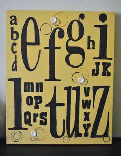Alphabet ABC Art  Nursery Decor  Back To School by buttonandthread