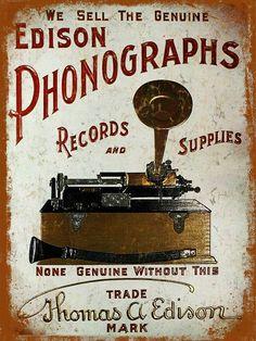 Metal Sign Grunge Retro Style Edison Phonographs Poster Tin Wall Door Plaque