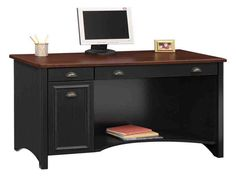 Trendy Home Office Desk With Drawers Furniture Ideas Bush Office Furniture, Home Furniture, Business Furniture, Cottage Furniture, Black Furniture, Industrial Furniture, Office Computer Desk, Home Office Desks, Desk With Keyboard Tray