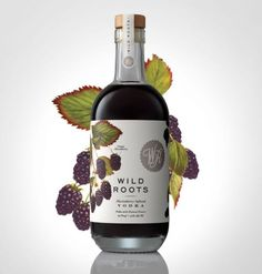 Beautiful designed wild roots flavoured vodka packaging by Sasquatch Agency. Example is the marionberry infused flavour. Juice Packaging, Beverage Packaging, Bottle Packaging, Brand Packaging, Limoncello, Marionberry, Alcohol Bottles, Infused Vodka, Label Design
