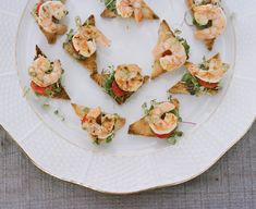 """Love the idea of having a """"heavy hors d'oeuvres"""" reception full of mini foods! Shown here are mini shrimp BLTs #wedding"""