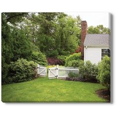 Domino White Picket Fence Green 15 x18 ($64) ❤ liked on Polyvore featuring home, home decor, wall art, posters, green wall art, white canvas wall art, canvas home decor, unframed wall art and green home accessories