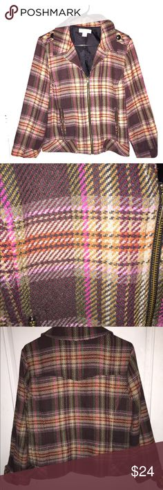 Christopher & Banks plaid jacket Brown and pink plaid design. Warm and comfortable. Perfect for chill fall days. Black buttons on sleeves. Zip up. Christopher & Banks Jackets & Coats