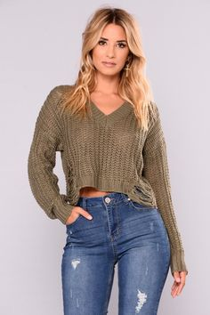 22834c6efbde4 Coralie Long Sleeve Sweater - Olive Long Sleeve Sweater