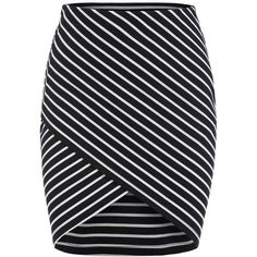 SheIn(sheinside) Black Cross Front Striped Bodycon Skirt featuring polyvore fashion clothing skirts saias bottoms faldas sheinside black striped short skirt black striped skirt short black skirt black stretchy skirt black body con skirt
