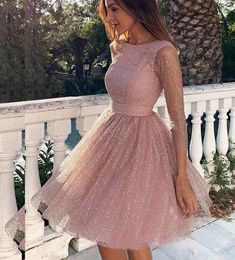 Sleeves Short Prom Dress Pink Homecoming Dress with Open - Homecoming Dresses Long Sleeve Homecoming Dresses, Hoco Dresses, Mini Dresses, Sexy Dresses, Summer Dresses, Short Dresses With Sleeves, Pretty Dresses, Cute Formal Dresses, Sparkly Homecoming Dresses