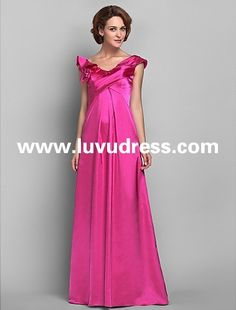 Sheath/Column Off-the-shoulder Floor-length Satin And Chiffon 2015 Mother of Bride Dress