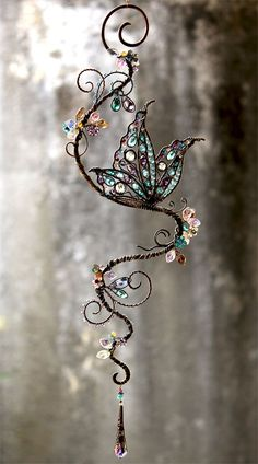 Butterfly Gemstone and Swarovski Crystal Suncatcher made by Cathy Heery from Intrinsic Designs:
