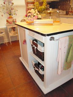 My Cottage Charm: COTTAGE KITCHEN MAKEOVER....THE MAKING OF THE ISLAND! How she made an island out of a vintage enamel-top table