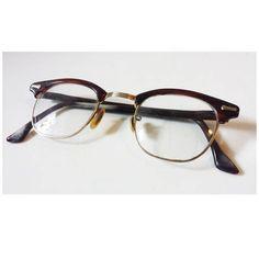 Rare Vintage Dark Tortoiseshell SHURON Ronsir Browline Men's 50s Half Frame Eyewear Horn Rim Glasses // Burgundy Brown Mid Century Glasses