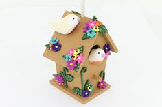 Sculpey III Decorated Birdhouse Ornament Tutorial by Phoebe Doehring for Polyform