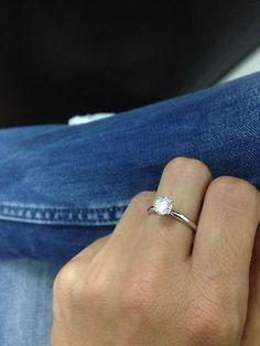 #jewelry SOLITAIRE DIAMOND RING 1 CARAT ROUND BRILLIANT WHITE EYE CLEAN 18K WHITE GOLD please retweet