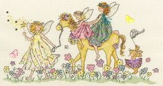 Three little fairies in pastel shades and a pony walking through a flower meadow and on the end a little rabbit trying to catch a butterfly.