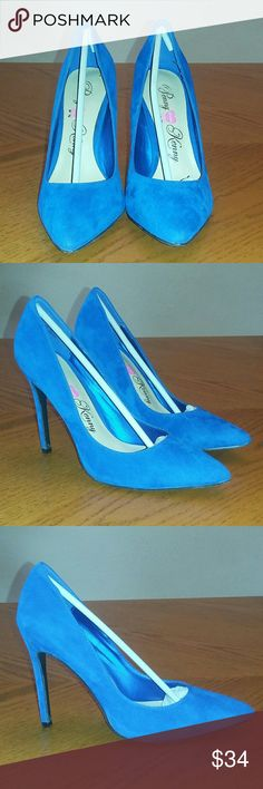 Gorgeous Deep Blue Evening Heels Worn but like new. Excellent condition both inside and out. Penny Loves Kenny Shoes Heels