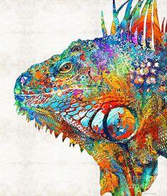 Colorful Iguana Art - One Cool Dude - Sharon Cummings Painting