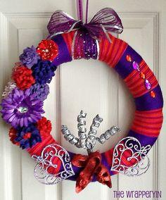 Valentine or Red Hat Society Yarn Wreath