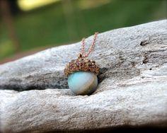 Acorn & Stone Necklace  Amazonite Jewelry  by MermaidTearsDesigns