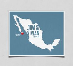 Mexico Wedding Gift - Personalized International Map - Custom Destination - Date - Location City and Country Modern Art Print - 8x10. $19.00, via Etsy.