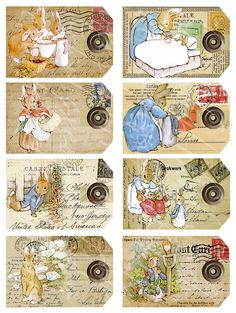 8 tags with images from The Tale of Peter Rabbit, digital collage sheets for paper crafts, Beatrix Potter, Paper Toy, Paper Dolls, Coelho Peter, Peter Rabbit And Friends, Decoupage, Etiquette Vintage, Vintage Tags, Vintage Easter