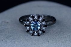 Arc Reactor Inspired Engagement Ring 14K White Gold, Black Rhodium, Aquamarine & Princess Cut Diamonds, Iron Man Custom Order Made To Order