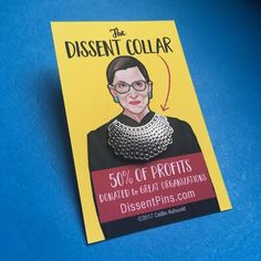 Ruth Bader Ginsburg dissent collar pin and necklace