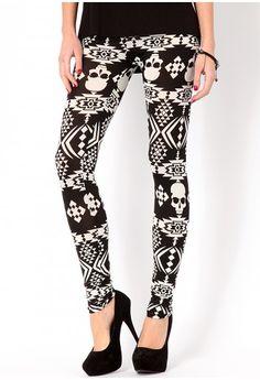 Kristi Aztec Skull Leggings - leggingsand hosiery