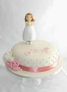 Simple First communion Cake - Cake by Delicut Cakes Fondant Cakes, Cupcake Cakes, First Holy Communion Cake, Religious Cakes, Confirmation Cakes, Vanilla Sponge Cake, Girl Cakes, Celebration Cakes, Cake Designs