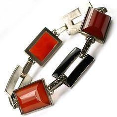 Art Deco Made in France Sterling Marcasites and Carnelian Link Bracelet