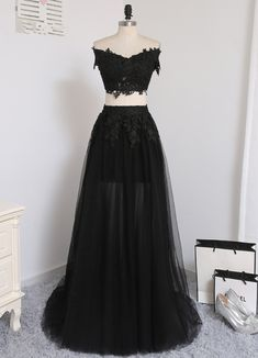 Sexy Two Pieces A-line V-neck Cap Sleeves Tulle Lace Slit Long Women Prom Dresses Prom Gown Evening Dresses Evening Gown