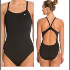 Nike Women's Core Solid Lingerie Tank One-Piece Never worn black Women's Tank Swimsuit black in color with white swoosh. Nike Swim One Pieces