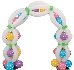 q-chain balloon arch in spring colors