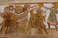 Une des scènes peintes sur la voûte de la nef de l'église abbatiale de Saint-Savin : La construction de la Tour de Babel. © Région Poitou-Charentes, inventaire du patrimoine culturel / J. Bonneau, 2013.