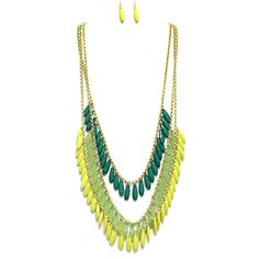 green, yellow, and mint beaded necklace set