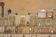 Secció longitudinal del vapor Reina Victòria Eugènia. Salons, menjadors. Primera meitat s. XX. Autor desconegut. 10351 MMB