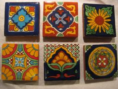 Mexican Talavera Fridge Magnets 2x2  set of 3 by LilandJilDesigns, $12.00....or for accent tiles