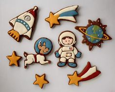use Christmas cookie cutters to make space-themed cookies