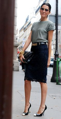 Pencil skirt is trendy and sexy. grey top, black lace pencil skirt, black/gold tip shoes