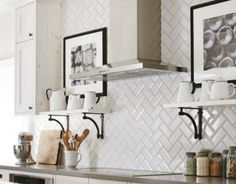 US Ceramics Ice White Beveled Subway Tile in Glossy subway tiles. White Beveled Subway Tile, Herringbone Subway Tile, Herringbone Pattern, White Tiles, White Marble, Subway Tile Kitchen, Kitchen Backsplash, Subway Tiles, Backsplash Ideas