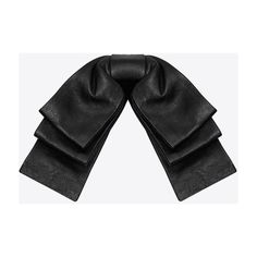 Saint Laurent Layered Bow Tie In Black Leather With Leather Collar (11.656.295 IDR) ❤ liked on Polyvore featuring accessories, tie, bow, scarves, black and yves saint laurent