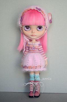 Crochet set for Blythe doll Pink tones by ByArtemis on Etsy